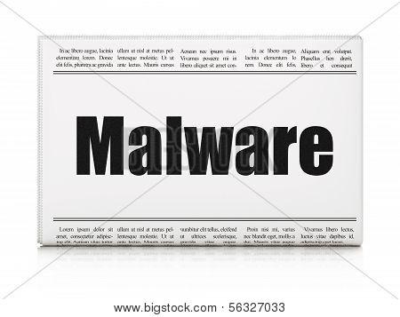 Security concept: newspaper headline Malware