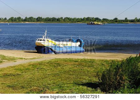 Russia, Nizhny Novgorod, August 2010. The boat on the airbag on the Volga River