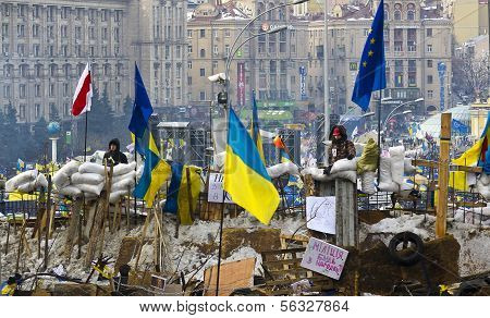 Kiev, Ukraine - December 13: Protest Against The President Yanukovych Didn't Sign The Contract Betwe