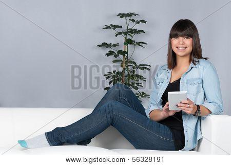 Woman Uses An Ebook Reader
