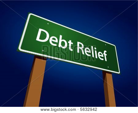 Debt Relief Green Road Sign Vector Illustration