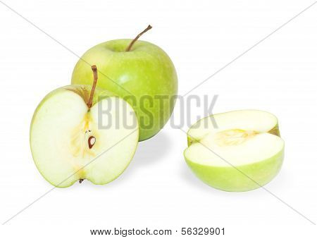 Two Green Granny Smith Apples, One Cut Open