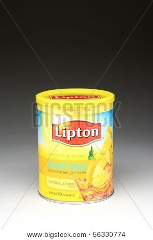 IRVINE, CA - January 11, 2013: A 10 quart can of Lipton Iced Tea Mix Natural Lemon Flavor. Iced tea makes up about 85% of all tea consumed in the United States.