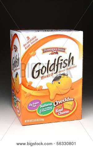 IRVINE, CA - January 21, 2013: 58 ounce box of Pepperidge Farm Goldfish snack crackers. Originally from Switzerland, Goldfish Crackers were introduced to the US in 1962.