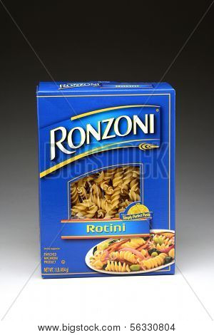 IRVINE, CA - January 21, 2013: A one pound box of Ronzoni Rotini Pasta. Rotini is corkscrew or spiral shaped pasta and One of the most versatile of all pasta shapes.