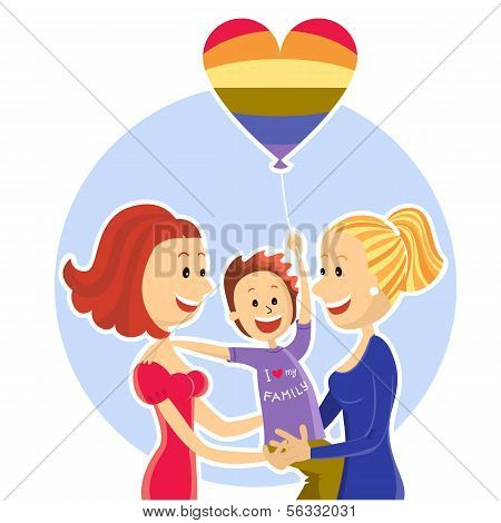 Young  Lesbian Couple Family With Son.vector Illustration