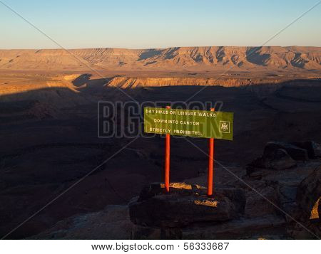 Fish River Canyon Attention Sign