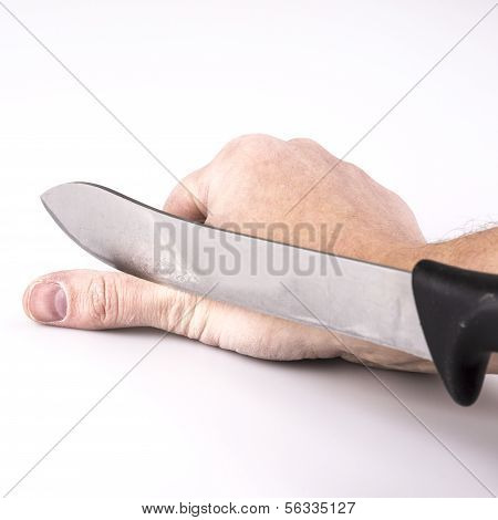 Close Up Of A Suicidal Man Hand On Isolated White Background
