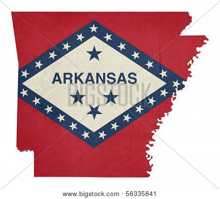 Grunge state of Arkansas flag map isolated on a white background, U.S.A.