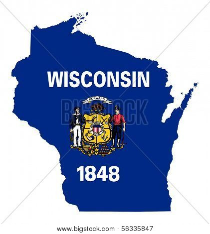 State of Wisconsin flag map isolated on a white background, U.S.A.