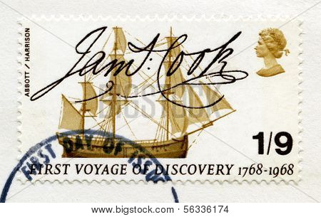 British Postage Stamp Commemorating Captain James Cook's First Voyage