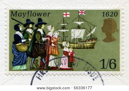 British Postage Stamp Commemorating The Pilgrim Father's Voyage To The New World