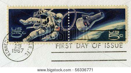 Vintage Us Space Postal Stamps
