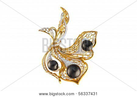Golden Brooch With Pearls And Diamonds
