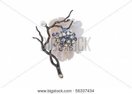 Golden Brooch With Pearls, Sapphires And Diamonds