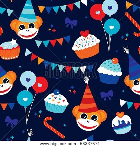 Seamless blue boy party birthday announcement illustration background pattern in vector