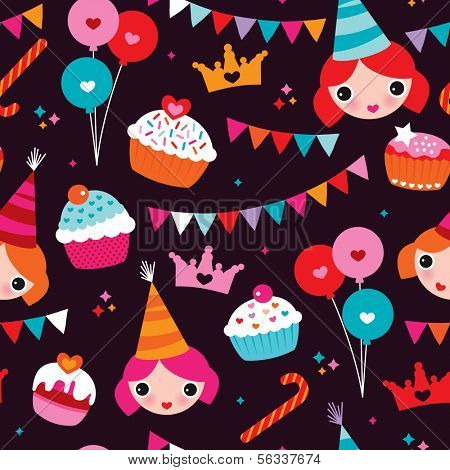 Seamless party princess girl birthday announcement illustration background pattern in vector