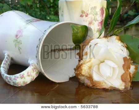 antikes Krüge und faulende Blume