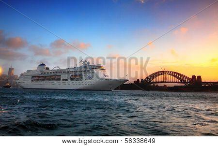 P & O Cruise Ship On Sydney Harbour At Sunrise