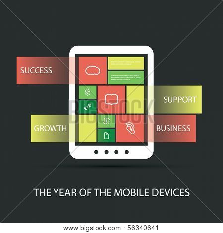 The Year of the Mobile Devices - Tablet Design - Flat Style