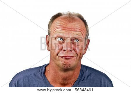 Astonished looking man on a white background