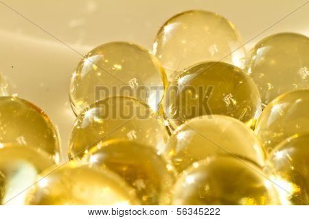 close up of vitamin oil capsules