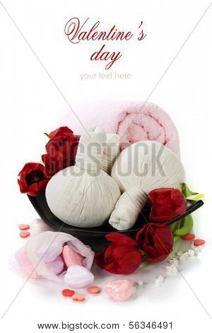 Bath and spa Valentine theme with thai herbal compress stamps, towel, bath soaps and tulips (with easy removable text)