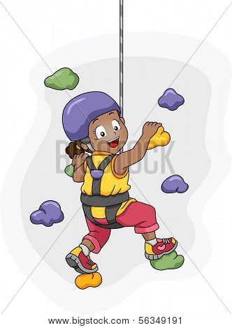 Illustration of a Harness Wearing Little Girl Scaling a Wall