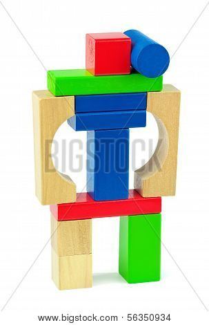 Combat Toy Robot Made From Toy Wooden Colorful Bricks Isolated On White Background