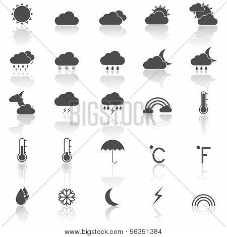 Weather Icons With Reflect On White Background