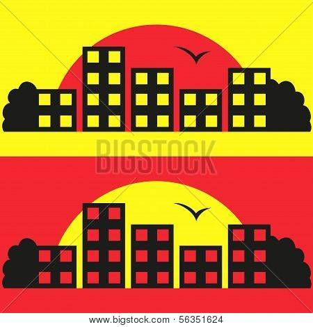 Contrast City Silhouette Vector Illustration