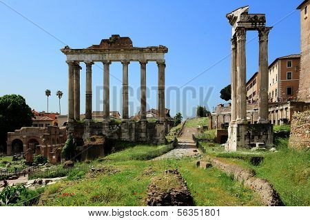 Temple Of Saturn, Temple Of Vespasian And Titus  At The Roman Forum, Rome
