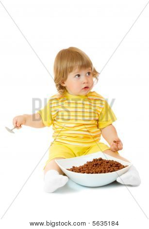 Small Girl Eat Corn Flakes