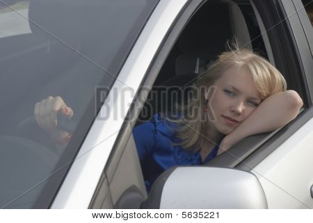 Resting Girl After Driving