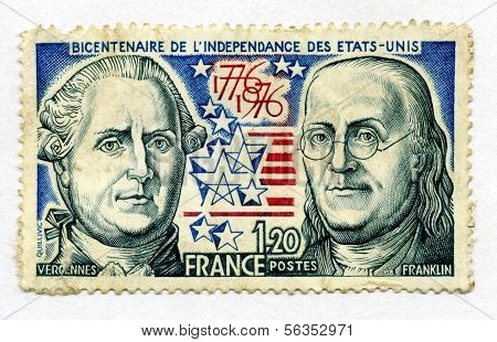 Stamp from France bicentennial of US