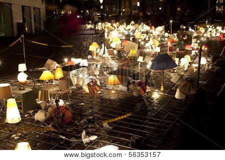 Amsterdam, The Netherlands: Art With Desk Lamps With Lights At Annual Amsterdam Light Festival On De
