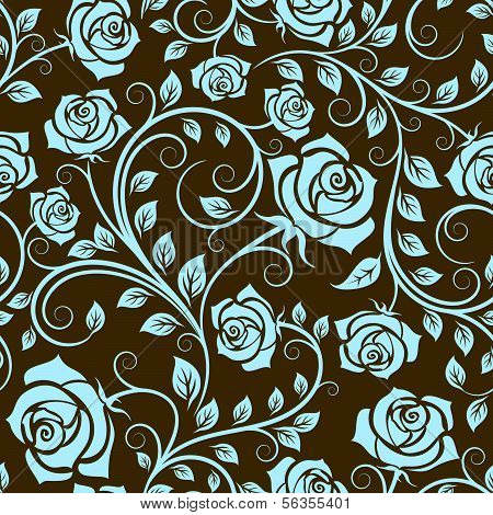 Antique Scrolling Rose Seamless Pattern