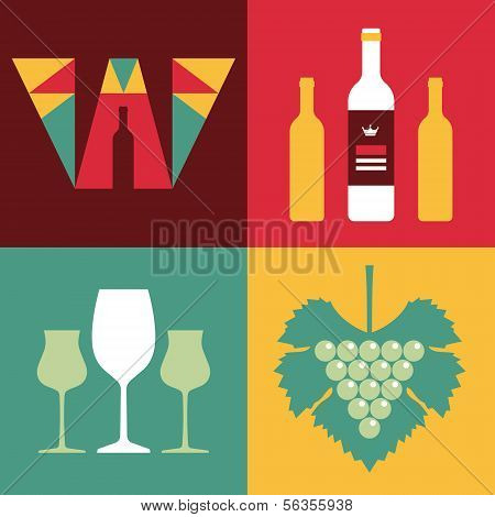 Illustration of Wine in Flat Design Style - Vector Logo of Letter W