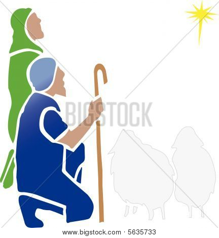 Two Shepherd with Sheep