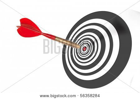 Single red dart penetrating the centre of a dart board scoring a bulls eye depicting achievement and accuracy
