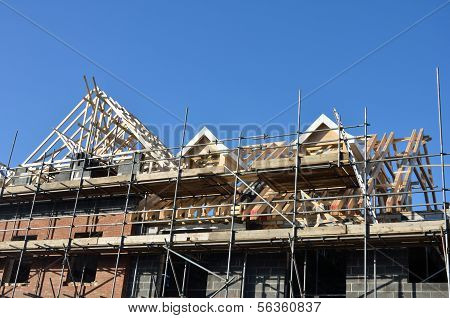 Roof under construction under blue sky