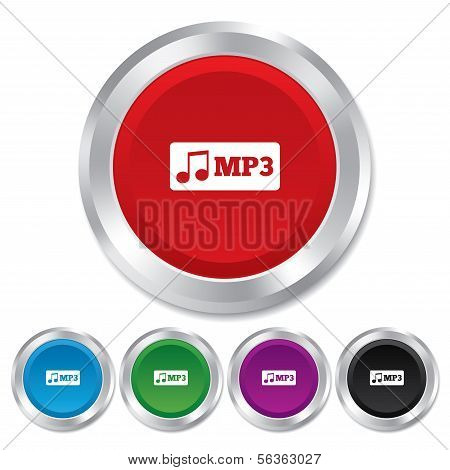 Mp3 music format sign icon. Musical symbol.
