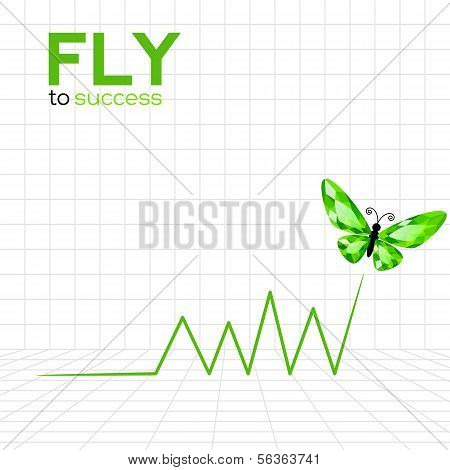Success graphic with emerald butterfly
