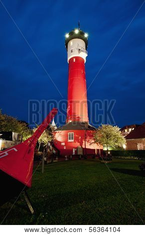 Old Lighthouse by night, Wangerooge, Germany