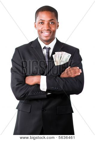 Handsome Businessman With Dollars In A Pocket