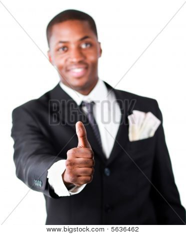 Close-up Of A Businessman With Dollars In A Pocket And Thumb Up
