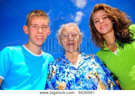 Teens with grandma