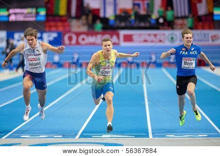 GOTHENBURG, SWEDEN - MARCH 2 Petter Olson (Sweden) places 2nd in the men's 60m pentathlon event during the European Athletics Indoor Championship on March 2, 2013 in Gothenburg, Sweden.