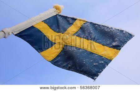 Swedish flag in wintertime