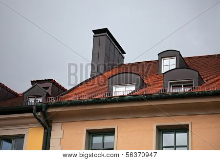 Close-up Of Houses With Red Tile Roof In Munich, Germany